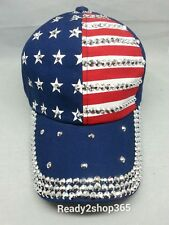 American Flag Baseball Cap Bling Rhinestone Hat Women Hats Adjustable Blue USA