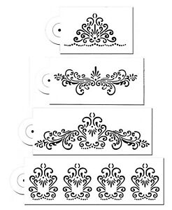 4-Piece-Cake-decorating-Airbrush-Icing-Frosting-Fondant-Elegant-Lace-Stencils