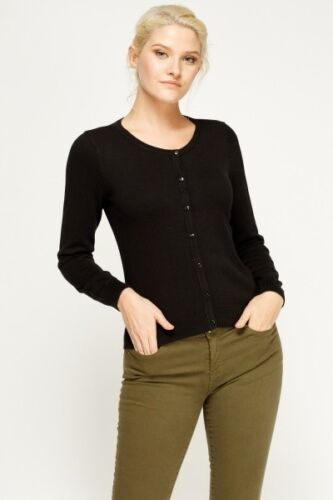 Women Ex H/&M Cotton Fine Knit Button Cardigan Round Neck Long Sleeve Tops
