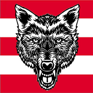 """VEGASBEE® LARGE LONE WOLF HEAD TATTOO BLACK-WHITE EMBROIDERED IRON-ON PATCH 13"""""""