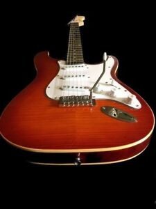 great playing action new set up trans amber strat up grade electric guitar ebay. Black Bedroom Furniture Sets. Home Design Ideas