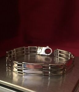 Vintage-Solid-Sterling-Silver-8-5-Bracelet-10mm-Wide-Hallmarked-925