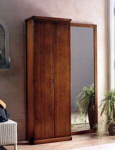 Ingresso parete in legno noce classico specchio appendiabiti armadio 2 ante t28 ebay - Parete a specchio per ingresso ...