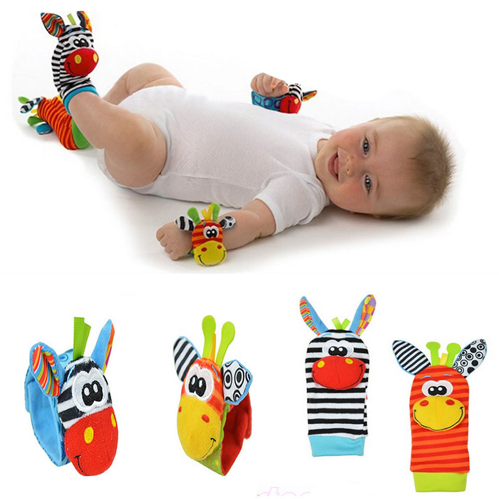 4pcs set Cute Animal Infant Baby Kids Hand Wrist Bell Foot Sock Rattles Soft Toy