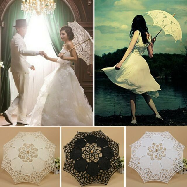 Vintage Handmade Cotton Parasol Lace Umbrella Party Wedding Bridal Decoration