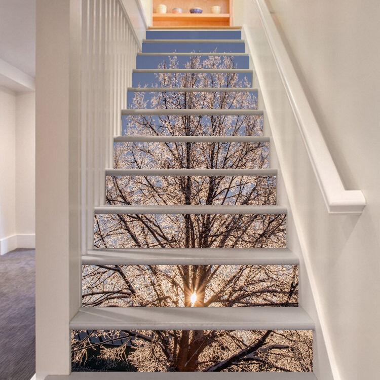 3D Eis Baum 137 Stair Risers Dekoration Fototapete Vinyl Aufkleber Tapete DE