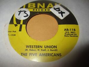 Details about 1967 THE FIVE AMERICANS Western Union +Now That Its Over 7