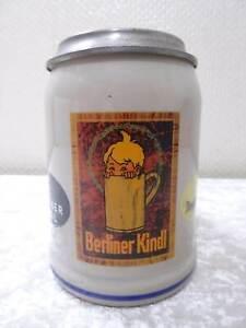 Berliner-Kindl-Keramik-Bierkrug-mit-Zinndeckel-Vintage-Reklame-Werbung