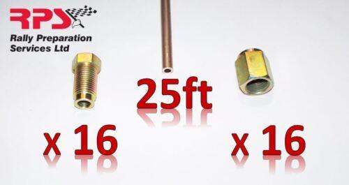 "Copper Nickel Kunifer Brake Pipe 25ft 3//16/"" 32 x Metric Long Male Female Ends"