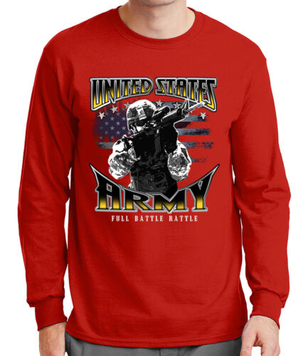 2054C US Army Soldier Mens Long Sleeve Tshirt Full Battle Rattle Tee