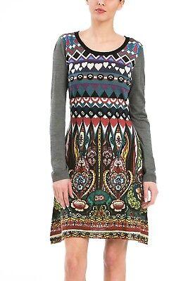 Desigual Brand Multi Color Long Sleeve Dress Us Size