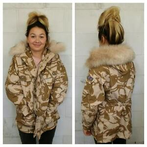 fa61dce8eea33 Image is loading CAMOUFLAGE-WINTER-JACKET-FUR-HOOD-VINTAGE-FASHION-DESERT-