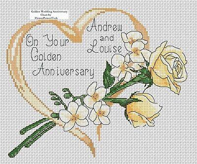 cross stitch chart Golden Wedding Anniversary gold rose /& Orchid flowerpower37