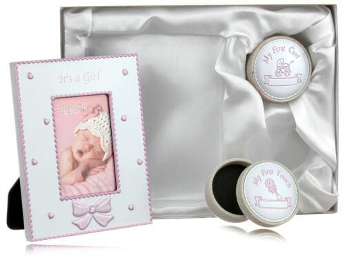 Babyset - Bilderrahmen mit Locken und Zahndose für Mädchen in Rosa - Geschenkset
