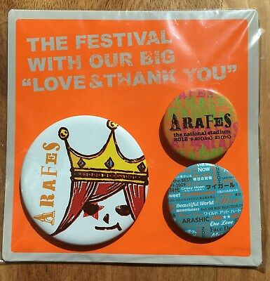 "Hearty Arashi 2012 National Stadium Live Tour ""arafes"" Official Pin Set Entertainment Memorabilia new"