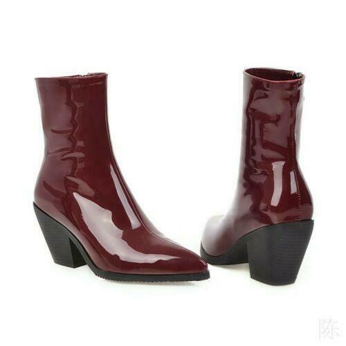 Western Women/'s Pointed Toe Patent Leather Chunky Heels Winter Shiny Ankle Boots