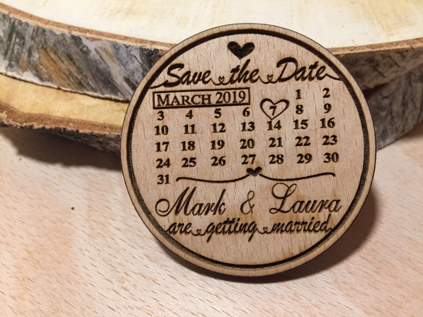 Wooden Calendar Save the Date Fridge Magnet with FREE Envelopes