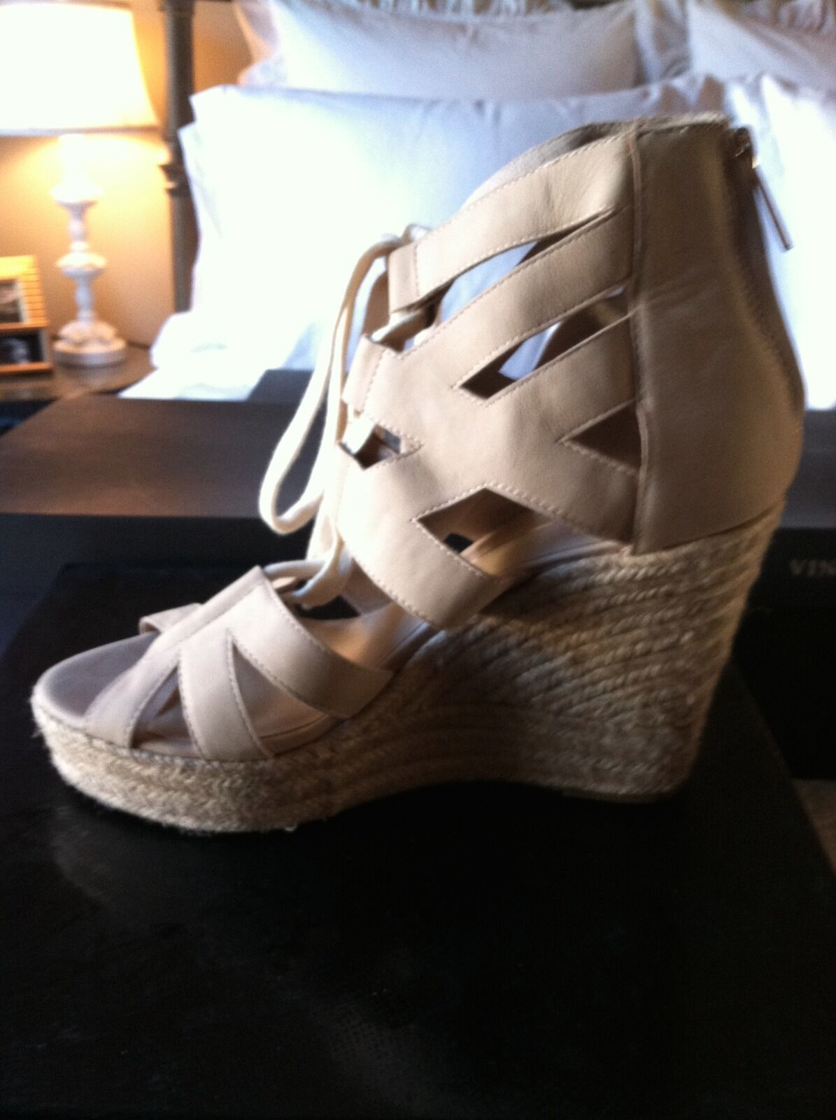 Dolce Vita Jianna Nude Suede Lace Up Wedge with Espadrilles, Größe 9, NIB with Wedge dustbag 1684ce