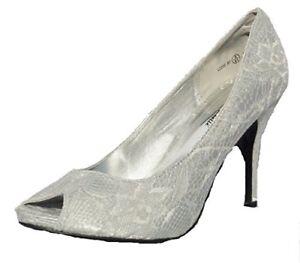 Womens-New-Wedding-Bridal-Bridesmaid-Bride-Party-Formal-Silver-Lace-Shoes-UK-3-8
