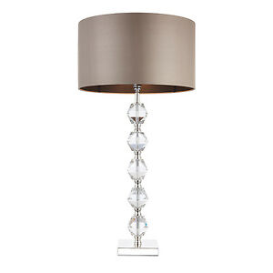 Endon-Verdone-lampe-de-table-60W-Cristal-clair-k9-details-en-verre-amp-taupe-soie