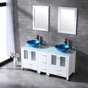60 Bathroom Vanity Plywood Cabinet Double Glass Vessel Sink Faucet Drain Combo Ebay
