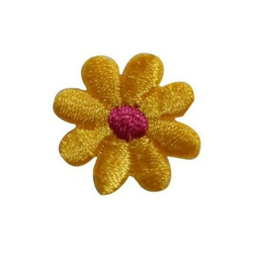 ID 6085 Lot of 3 Yellow Flower Blossom Patch Garden Embroidered Iron On Applique