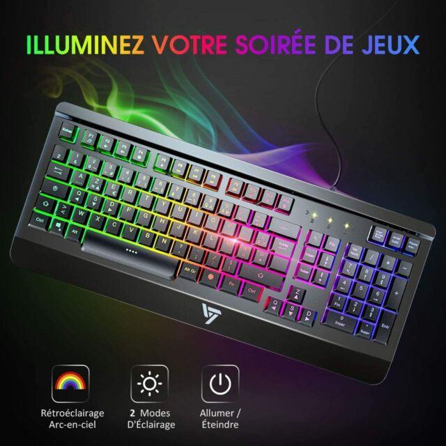 Clavier Keybaord Gamer Filaire Noir Azerty Ultra Mince Métallique Led Lumineux