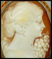 Antique 12K Rose Gold Fill Carved Shell Cameo Brooch Vintage Pendant