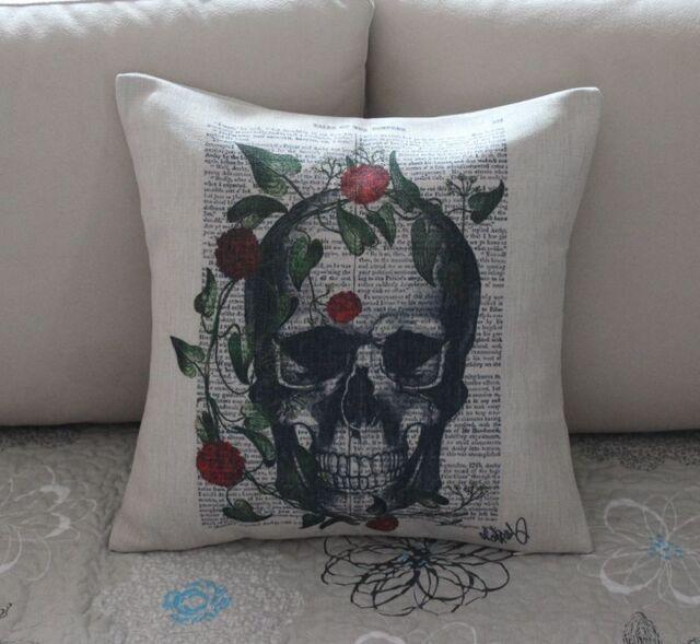 Vintage Sugar Skull Cotton Linen Throw Pillow Cushion Cover For Home Decor Z565
