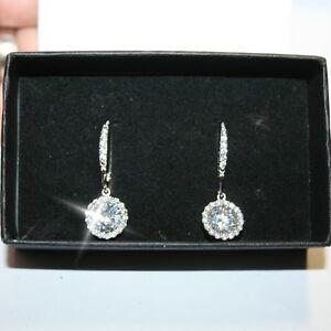 Diamond-Alternatives-Round-Leverback-Dangle-Earrings-14k-White-Gold-over-925-SS