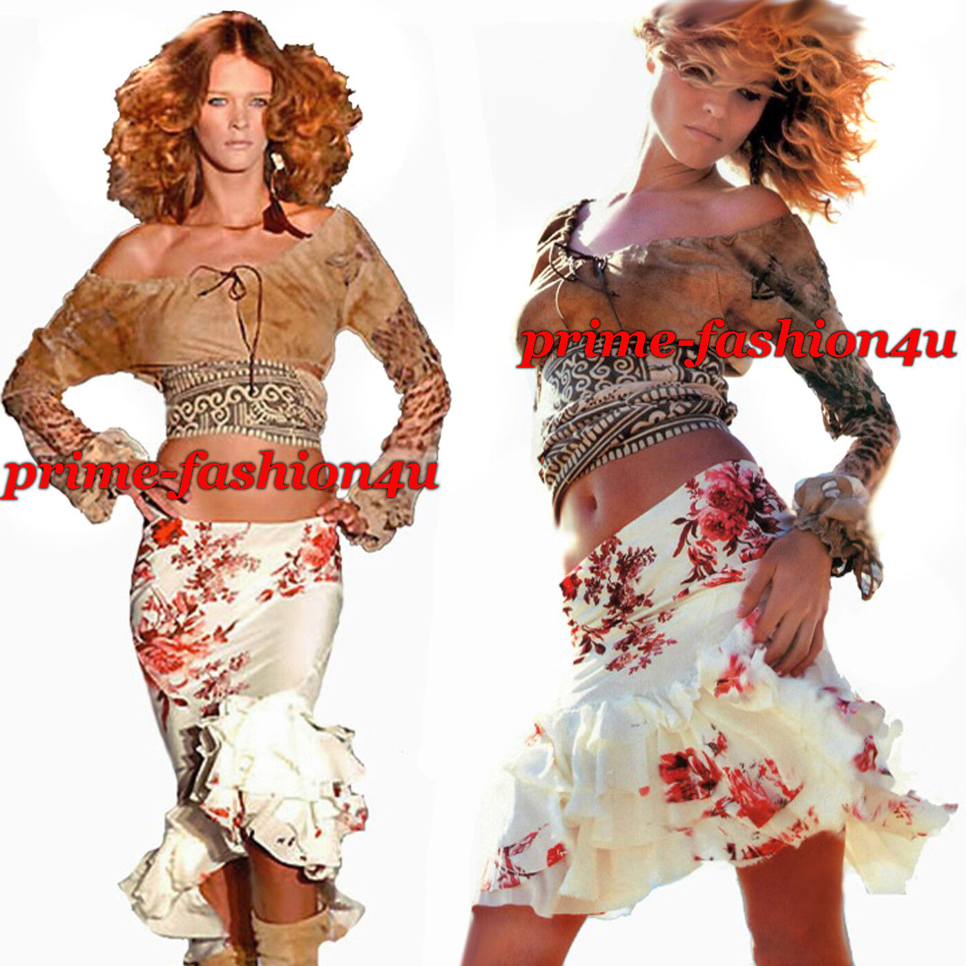Roberto Cavalli Ivory Floral Print High-Low Tiered Ruffle Mermaid Vintage Skirt
