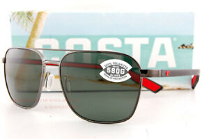 New Costa Del Mar Sunglasses WADER Brushed Silver Gray Silver Mirror 580G Polar