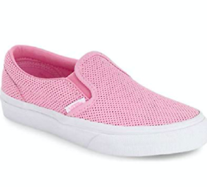 5463e2cfca Vans Off the Wall Classic Slip On Perf Leather Girls Prism Pink ...