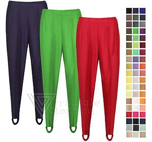 Ladies Womens Riding Style Trousers Ski Pants Stirrup Smart Slim Fit ... f763a0e16
