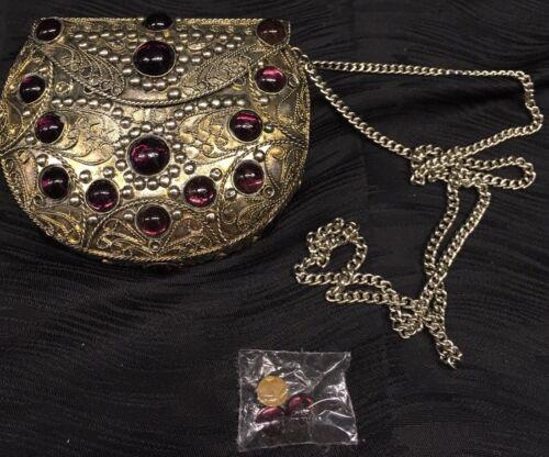 Kleine Handtasche Detaillierte Stein Und Handgefertigt In Metall Sehr Samt Vtg 6gFf1H