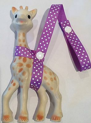 PURPLE/WHITE Dot Toy Saver Strap for Sophie the giraffe/fan fawn/baby shower etc