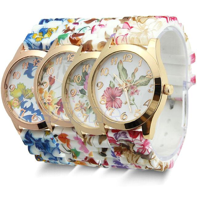 Women Chic Silicone Strap Flower Style Jelly Sports Analog Quartz Wrist Watch