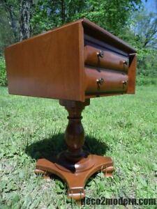 Image Is Loading Vintage Rockport Maple 2 Drawer Pedestal Drop Leaf