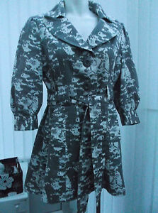 ladies-grey-and-white-flared-3-4-length-coat-size-14