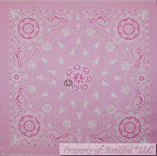 BonEful Fabric Cotton Quilt Block Square Pink White Breast Cancer Bandana Lady L