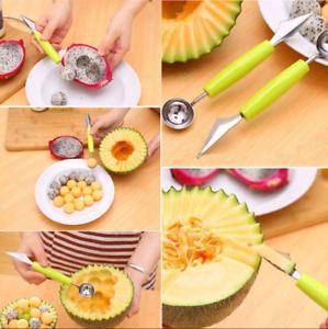 Double-End-Fruit-Melon-Cutter-Baller-Cream-Kitchen-Stainless-Steel-Scoop-Spoon