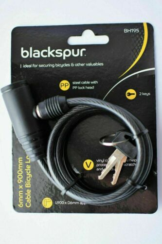 Bicycle Lock With Key Security Cable Blackspur BH195