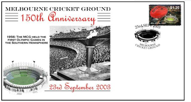 150th ANNIV OF THE MCG CRICKET COVER, 1956 OLYMPICS