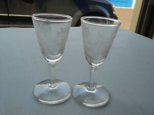 Vintage Etched Flower Glasses Small