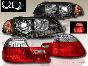 2000-2003-BMW-E46-2DR-HALO-HEADLIGHTS-W-CORNER-LIGHT-BLACK-LED-TAIL-LIGHT-RED