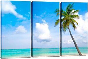 Blue Palm Tree Beach Canvas Wall Art Decor 12x24 3 Piece Set Total 24x36 Ebay