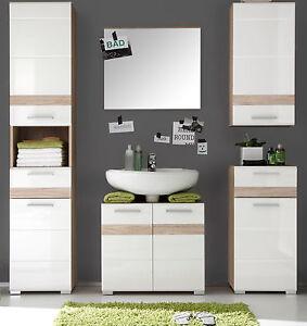Details zu Badmöbel Badezimmer komplett Set weiß Hochglanz Eiche Bad mit  Hochschrank SetOne