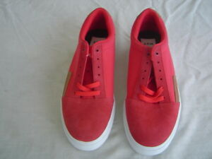 HUF Leather Suede Low Top Skate Shoes Red Men s Size 10.5 Skateboard ... 1324a8be1