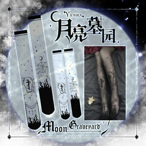 62a127cce7c13 Image is loading Punk-Moon-Graveyard-Lolita-Kawaii-Stockings-Gothic-Vintage-