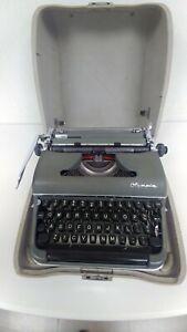 Vintage 1955 Olympia SM-3 De Luxe Gray-Green Portable Manual Typewriter w/Case